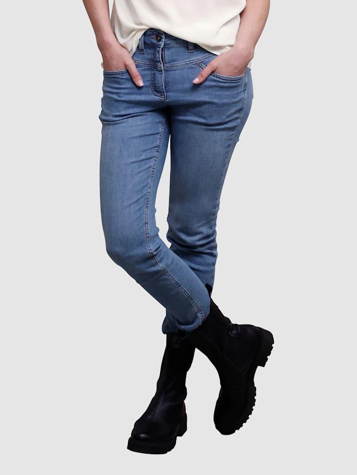 Laura Kent Jeans mit dekorativer Naht, Medium blue