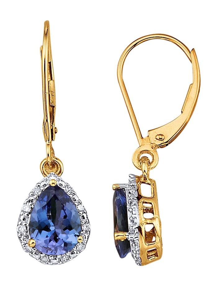 Diemer Farbstein Ohrringe mit Tansaniten und Brillanten, Blau