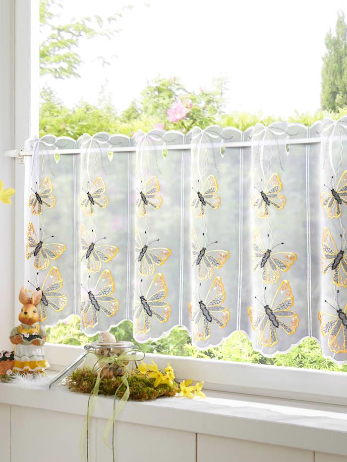 Stickereien & Textilien Scheibengardine 'Schmetterling', bunt