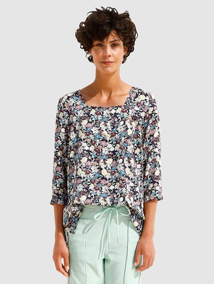 Dress In Bluse mit sommerlichem Druck, Marineblau