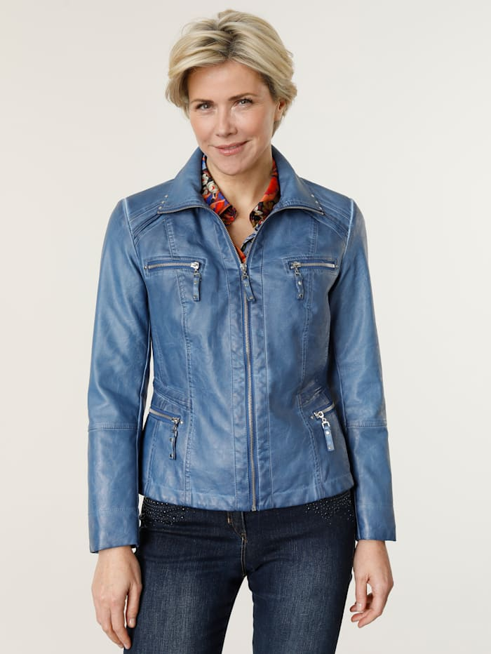 MONA Faux leather jacket in an on-trend design, Blue