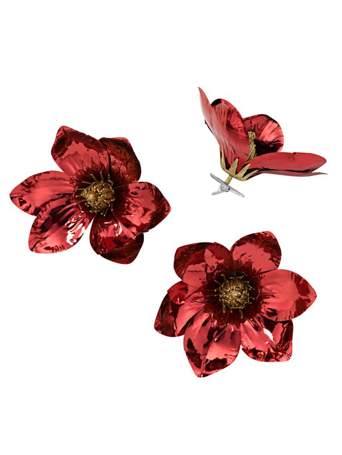 Creativ Deco Set van 6 clips met magnolia's, Rood