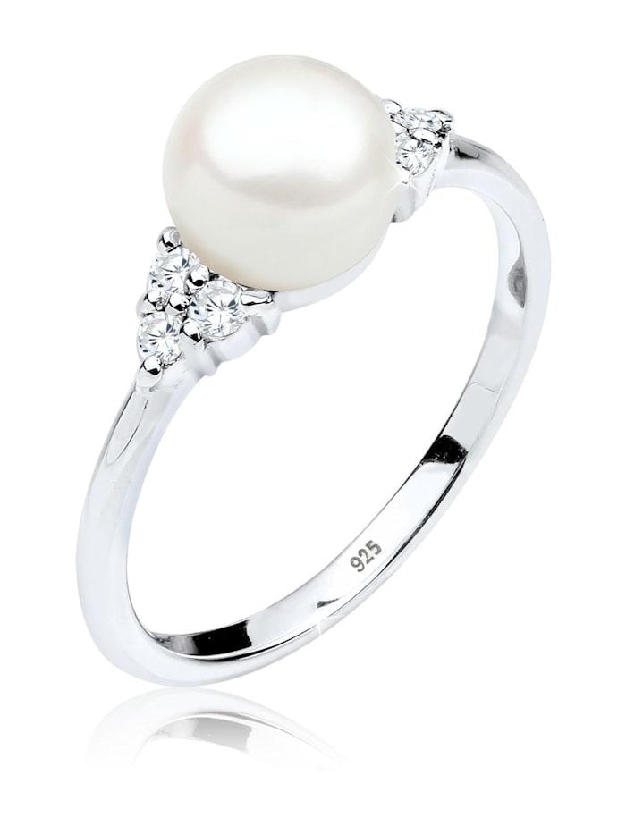 Elli Premium Ring Üßwasserzuchtperle Zirkonia 925Er Silber, Silber