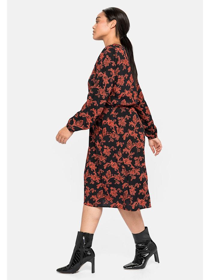 Kleid mit Ornament-Alloverdruck