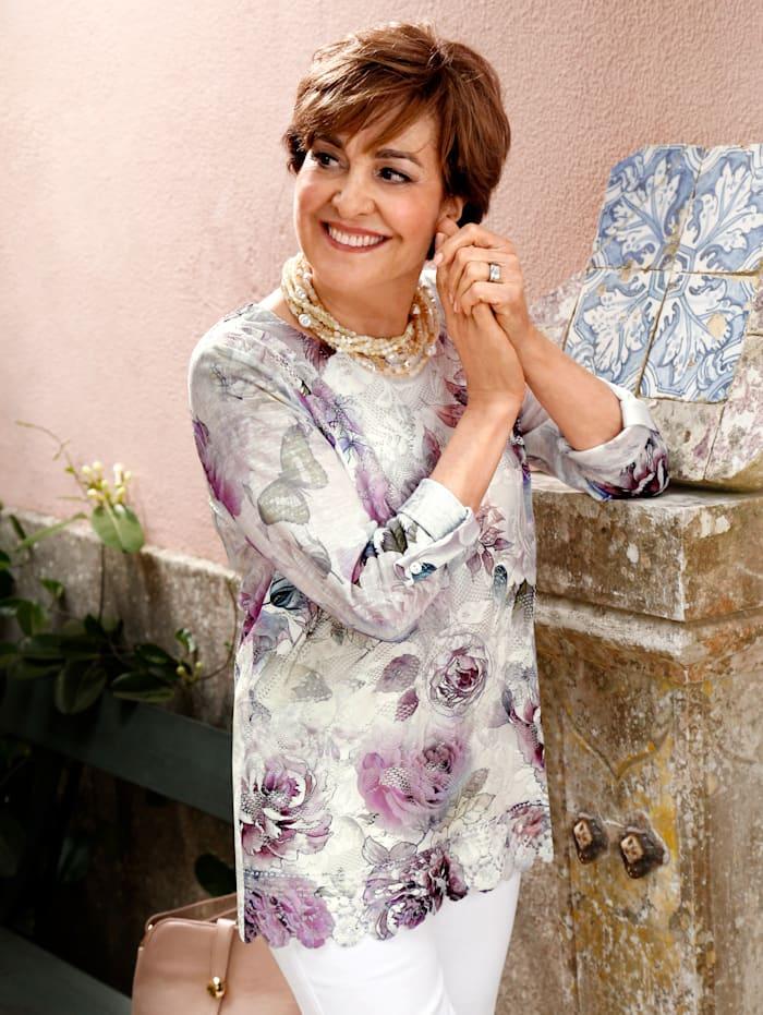 Paola T-shirt à dentelle à manches retroussables, Écru