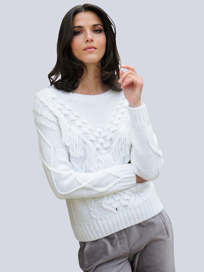 Alba Moda Pullover mit Zopfmuster, Off-white