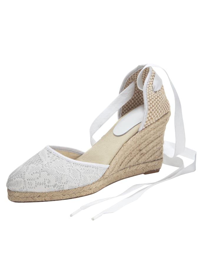 Sandales compensées à motif dentelle très mode, Blanc