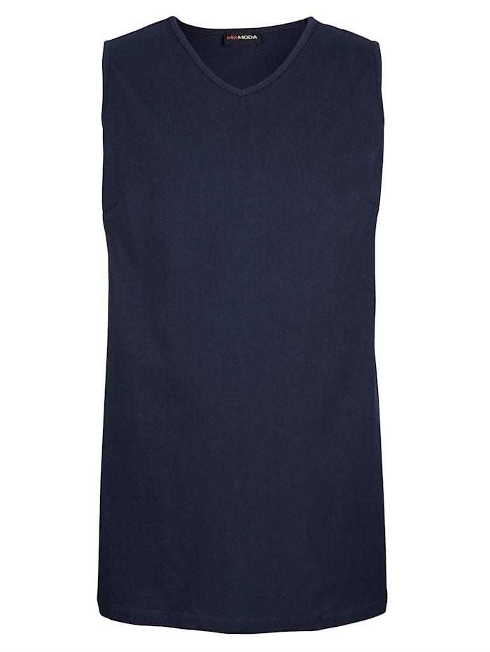 MIAMODA Top aus reiner Baumwolle, Marineblau