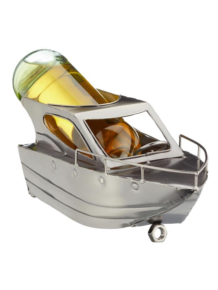 HTI-Living Weinflaschenhalter Motorboot, Silber