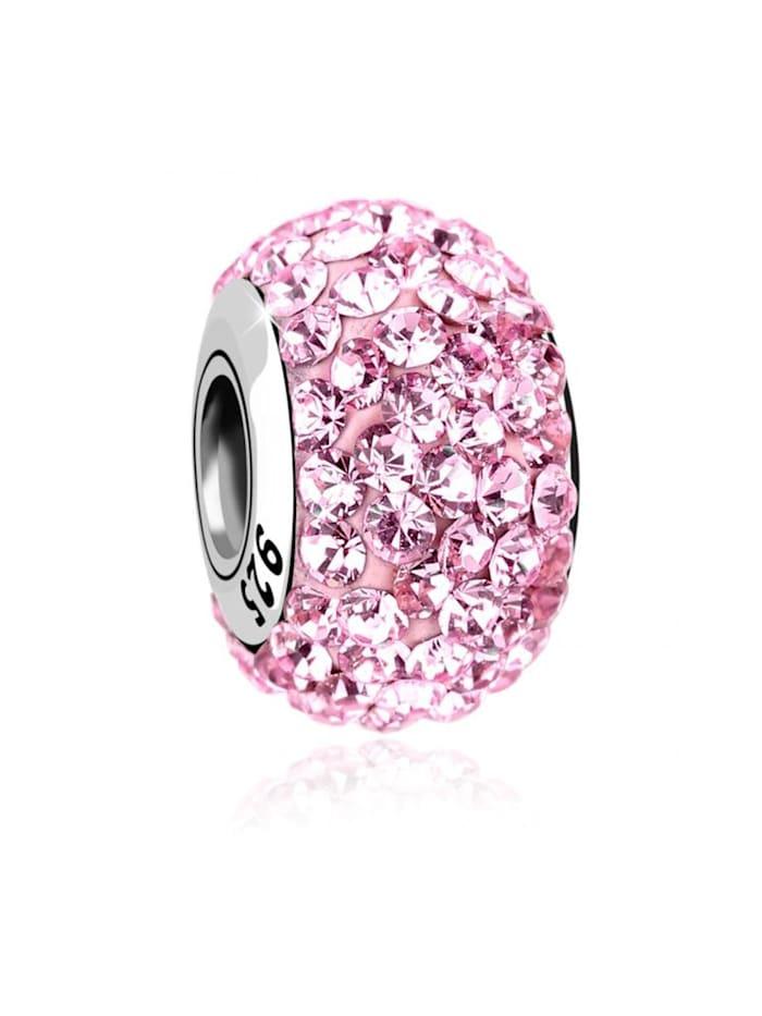 Nenalina Charm Kugel Bead Swarovski® Kristalle Glitzer 925 Silber, Rosa