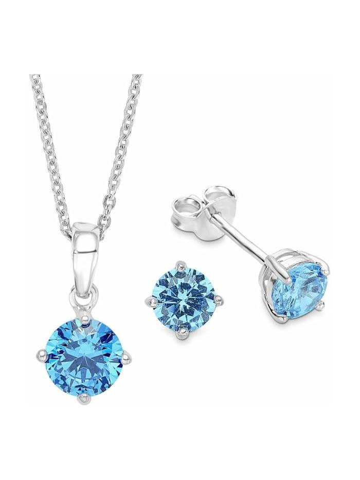amor Multi-Sets für Damen, Sterling Silber 925, Zirkonia Motiv, Blau