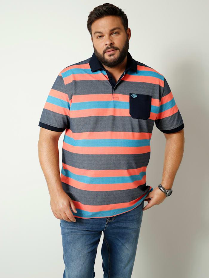 Men Plus Poloshirt mit einer Brusttasche, Marineblau/Hellorange
