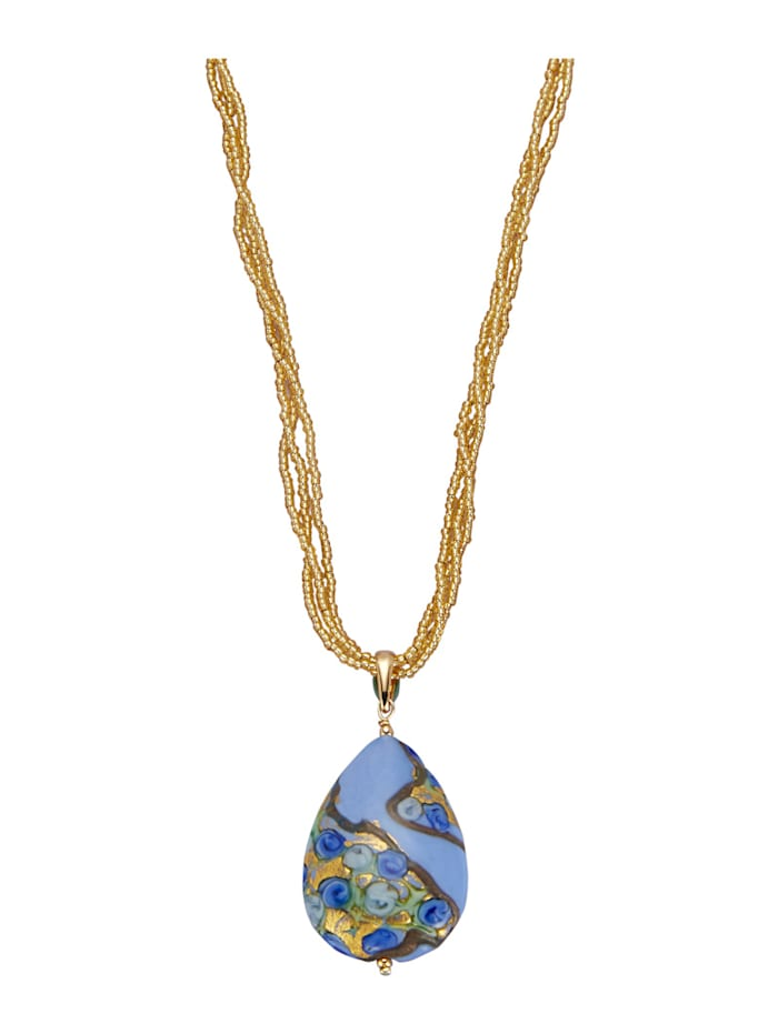 Diemer Highlights Pendentif avec chaîne en verre Murano et aventurine, Multicolore