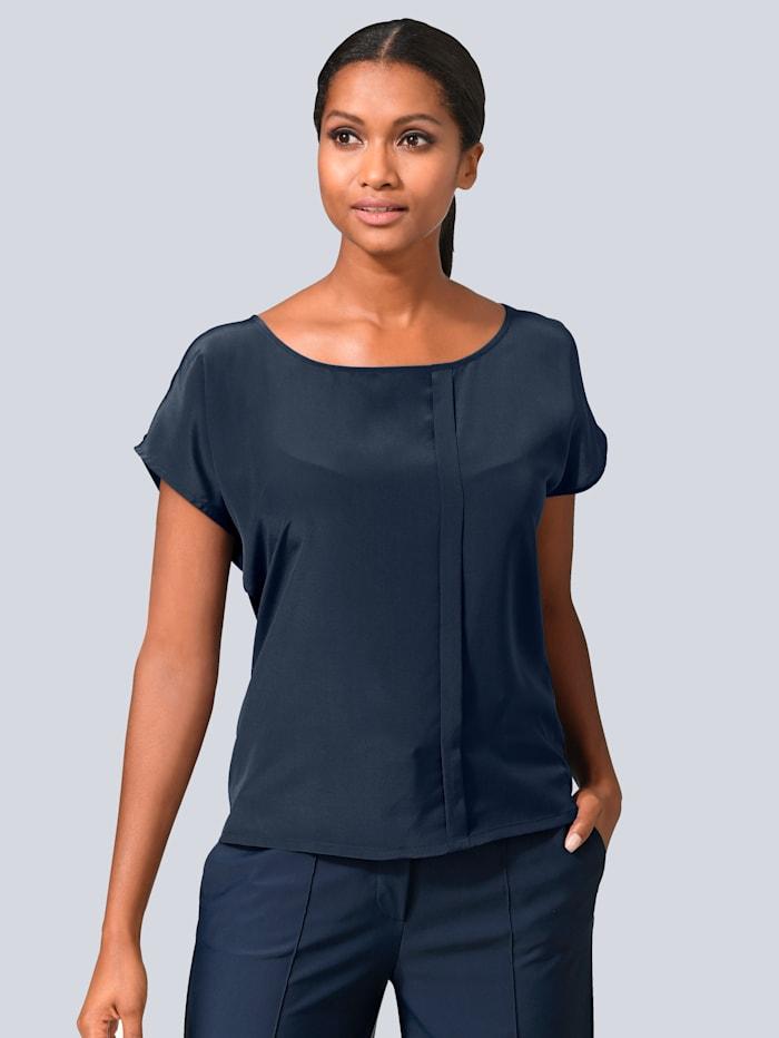Alba Moda Shirtbluse mit kleinem versetzten Faltendetail, Marineblau