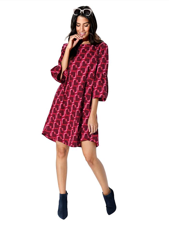 Lieblingsstück Kleid allover im Herzchendruck, Rot/Rosé
