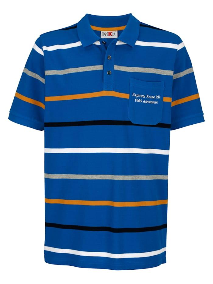 Roger Kent Poloshirt met ingebreide strepen, Royal blue