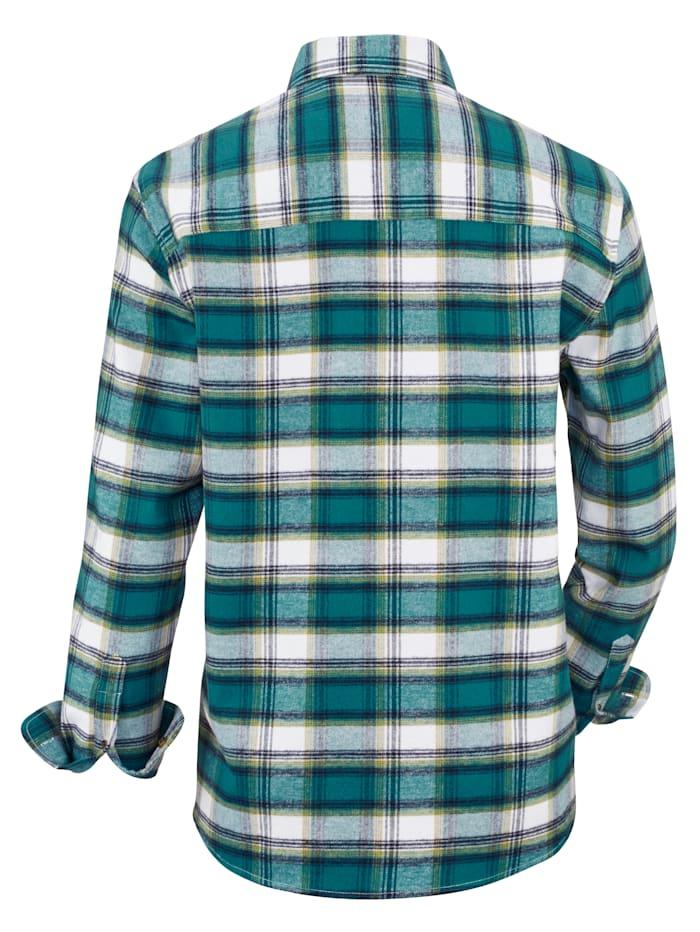 Flanellhemd mit sportivem Button-Down-Kragen