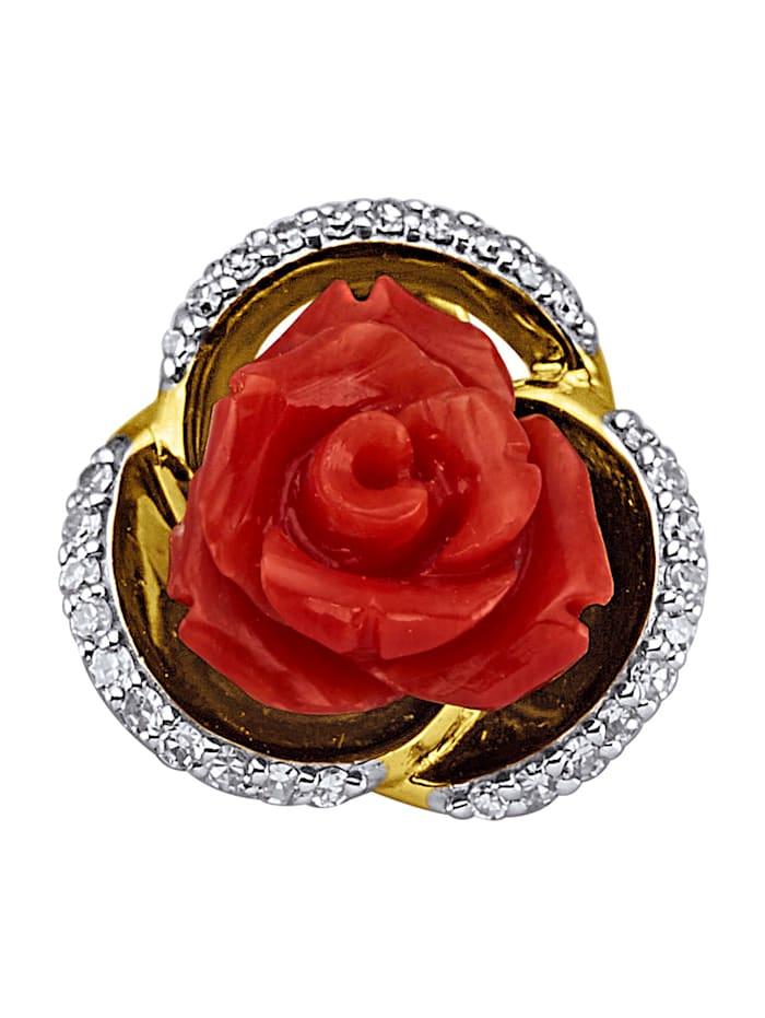 Diemer Farbstein Anhänger mit Diamanten, Rot