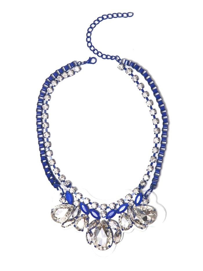 Collezione Alessandro Statementkette Gloria mit unterschiedlichen Glassteinen, blau