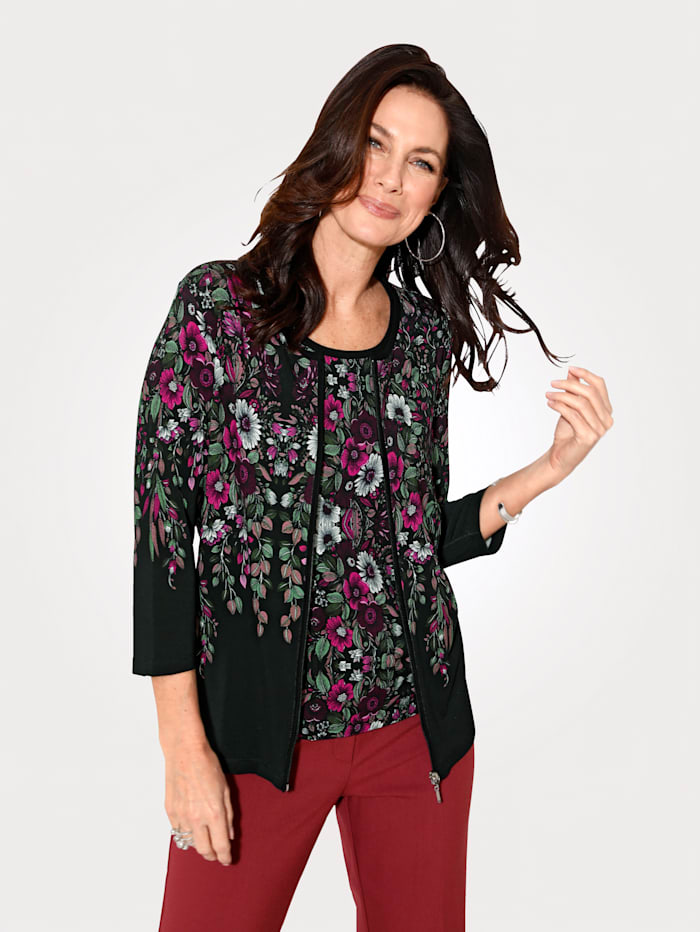 Twinset with a placed floral print
