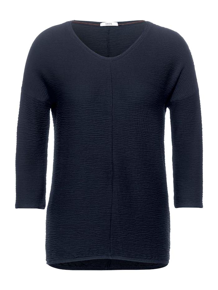 Cecil Lässiges Seersucker-Shirt, deep blue