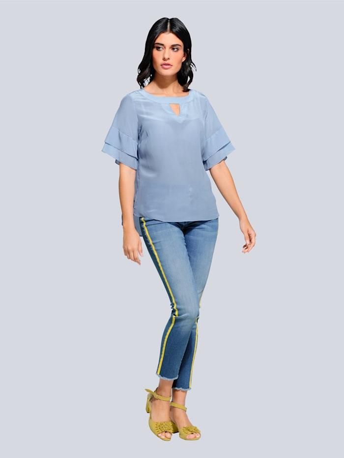 Jeans mit farbig abgesetztem Galonstreifen