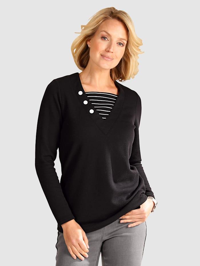 Paola Sweatshirt mit Streifeneinsatz, Schwarz