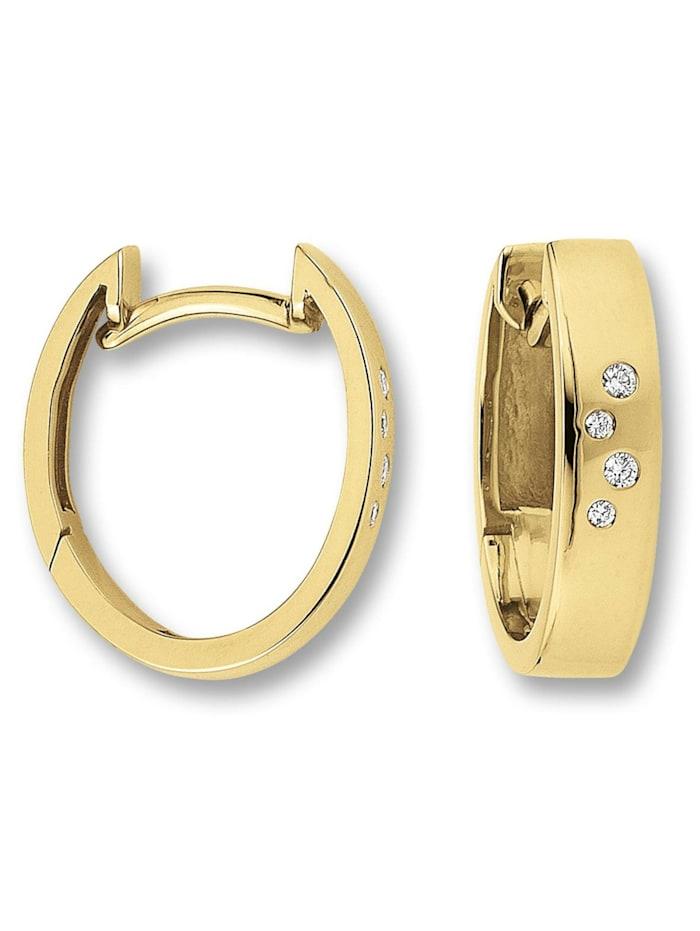 One Element Damen Schmuck Orhringe / Creolen aus 585 Gelbgold mit 0,04 ct Diamant, gold