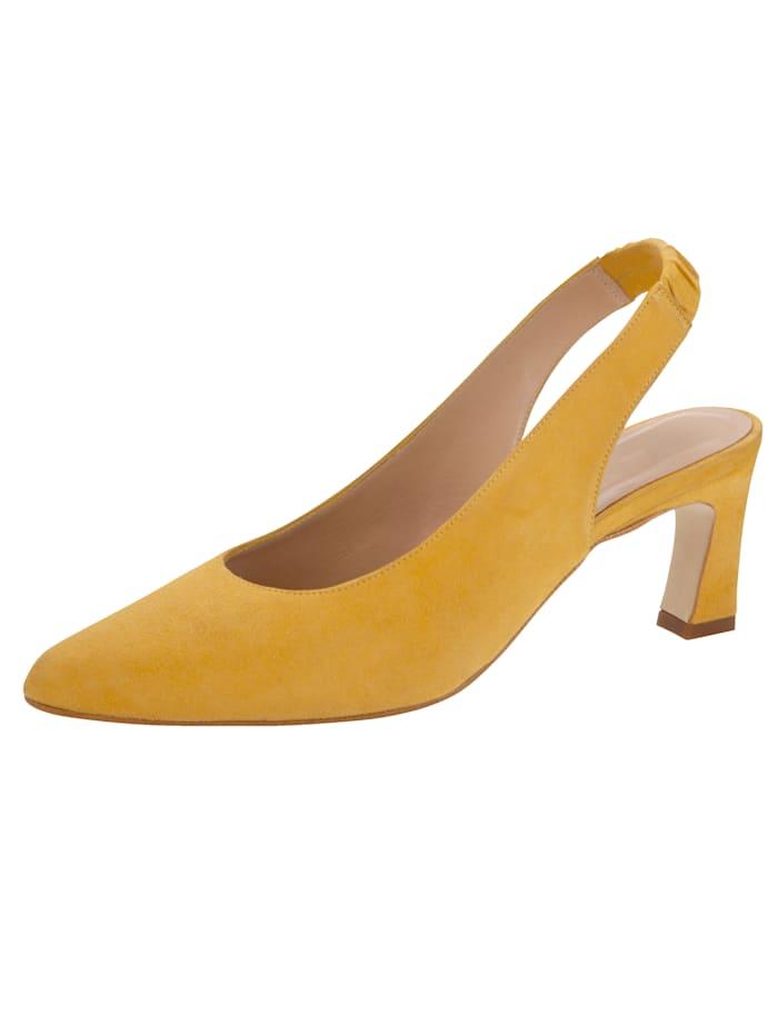 Gennia Sling aus feinem Ziegenveloursleder, Gelb