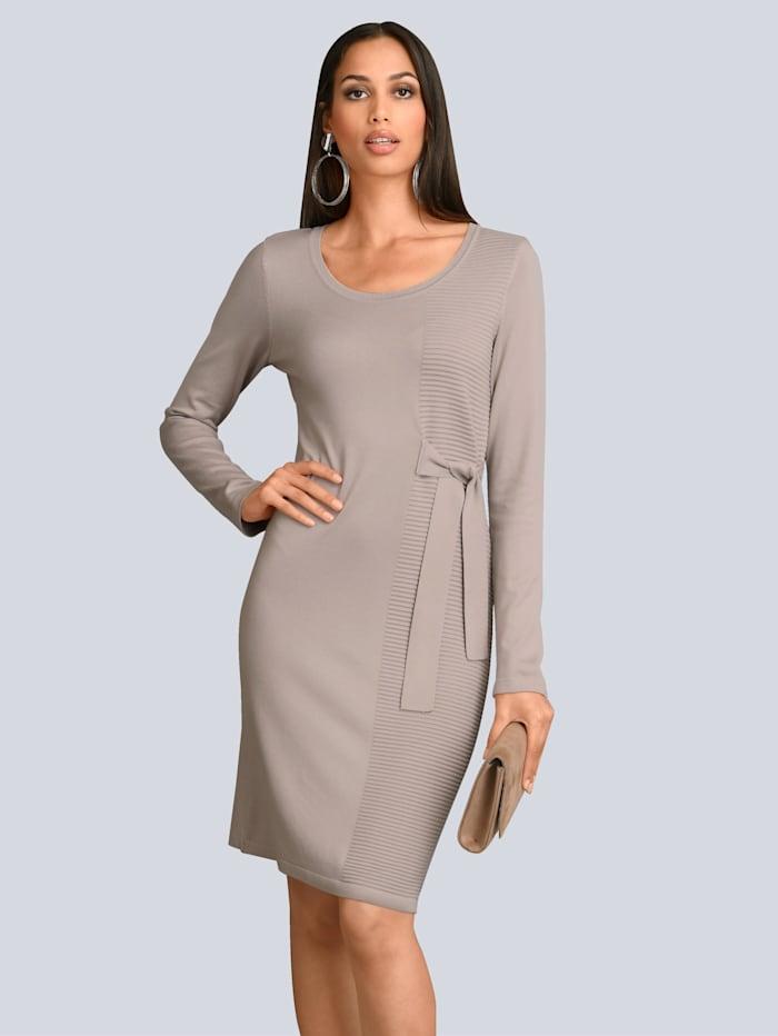 Alba Moda Kleid in verschiedenen Strickarten, Taupe