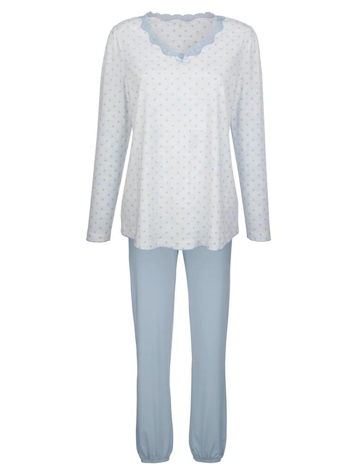 Simone Pyjama met romantisch kant, ecru/bleu