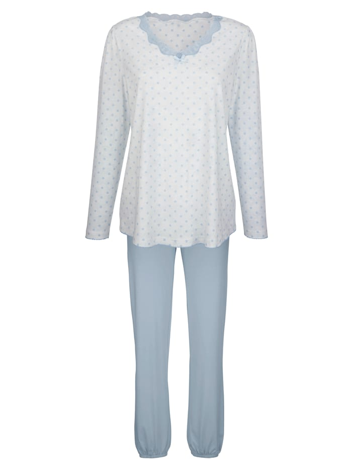 Simone Schlafanzug mit romantischer Spitze, ecru/bleu