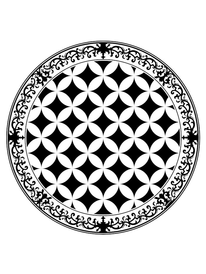 mySPOTTI Vinyl-Teppich, rund, Schwarz/Weiß