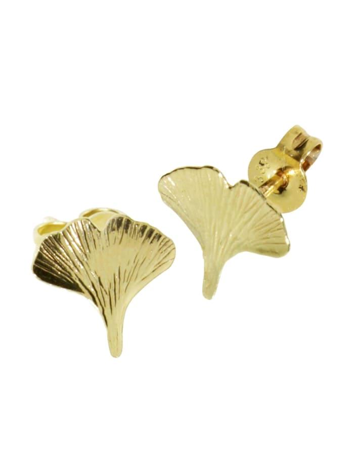 OSTSEE-SCHMUCK Ohrstecker - Ginkgoblatt - Gold 333/000 - ,, gold