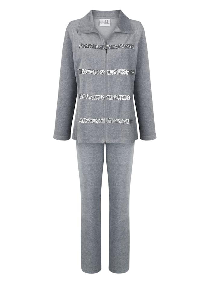 MONA Hausanzug mit hübschen Pailetten Applikationen, Grau