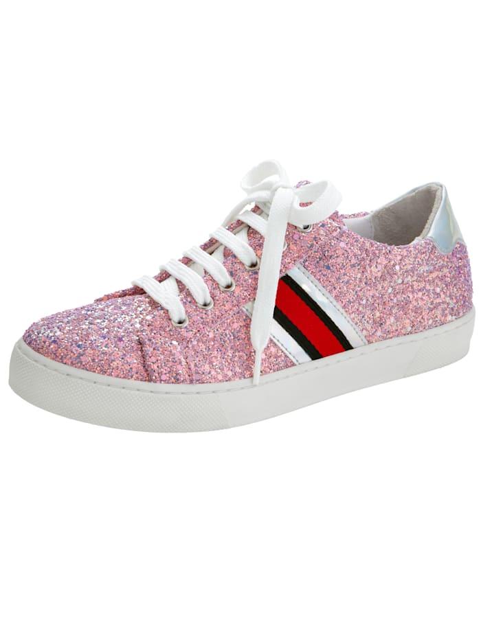 Sneaker in fonkelende glitterlook, Roze