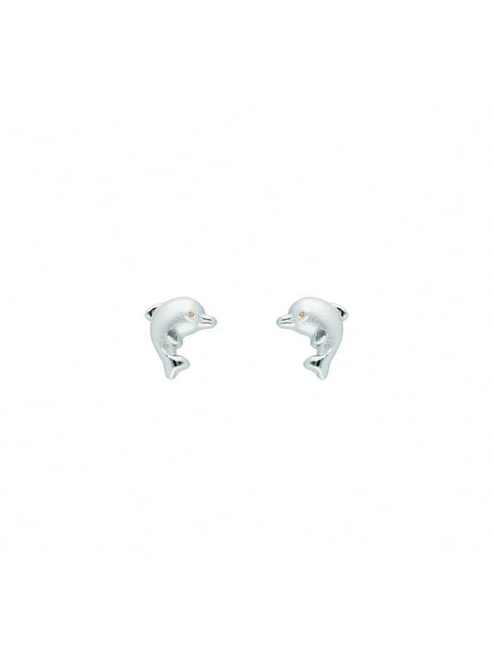 1001 Diamonds Damen Silberschmuck 925 Silber Ohrringe / Ohrstecker Delphin, silber