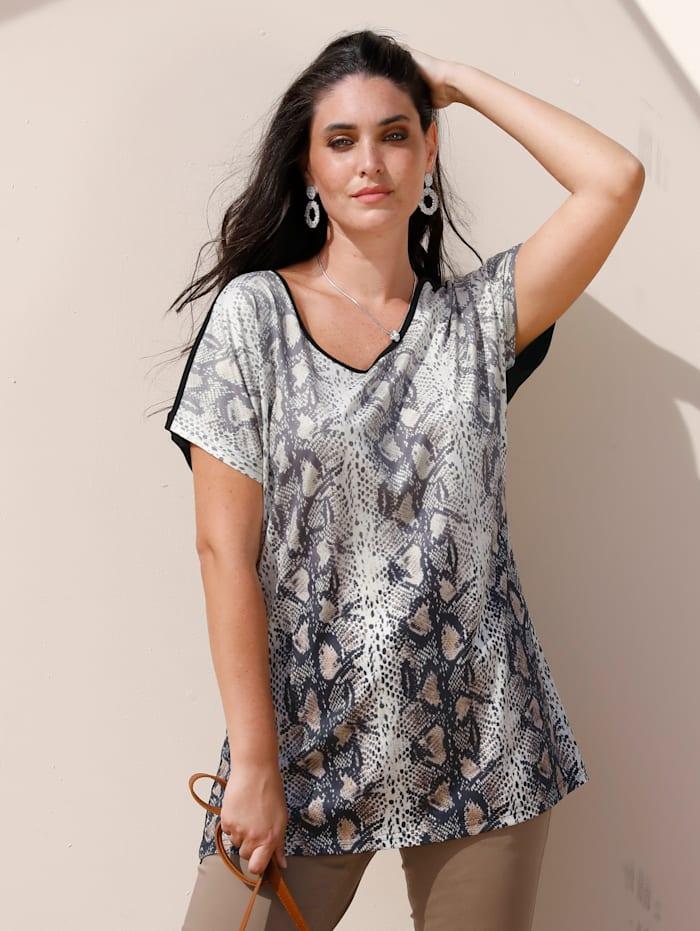 MIAMODA T-shirt à imprimé animalier devant, Beige/Noir