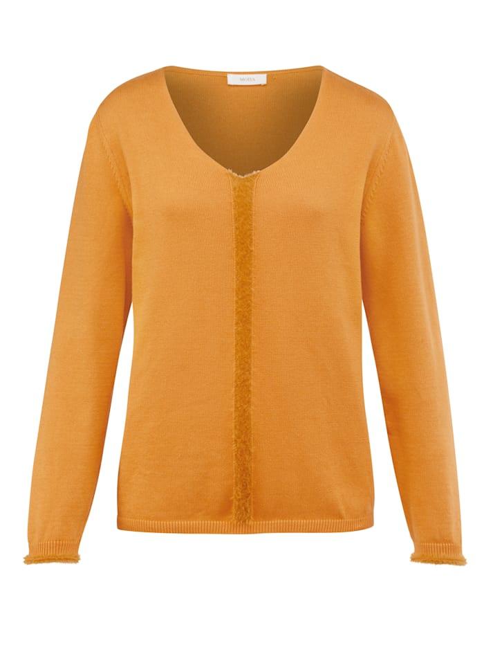 MONA Pullover mit harrigem Garn, Ockergelb