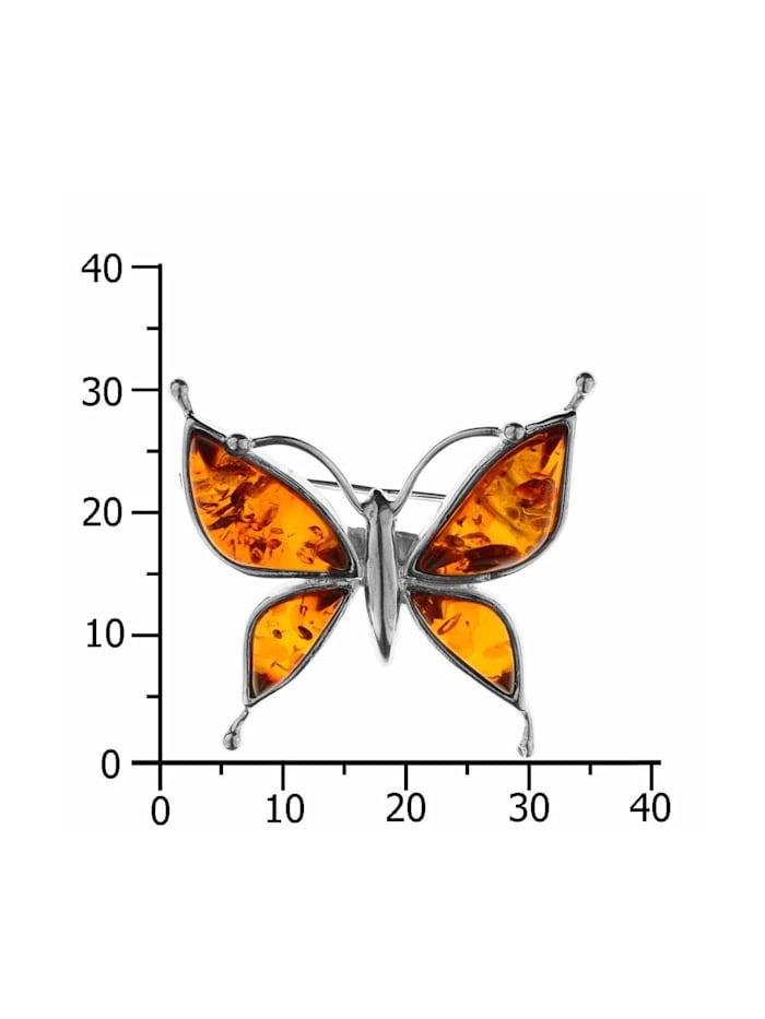 Brosche - Schmetterling - Silber 925/000 - Bernstein