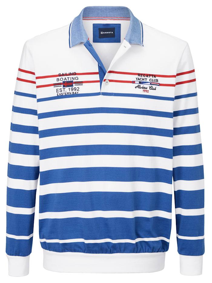 Sweatshirt mit zweifarbigem Polokragen und Knopfleiste