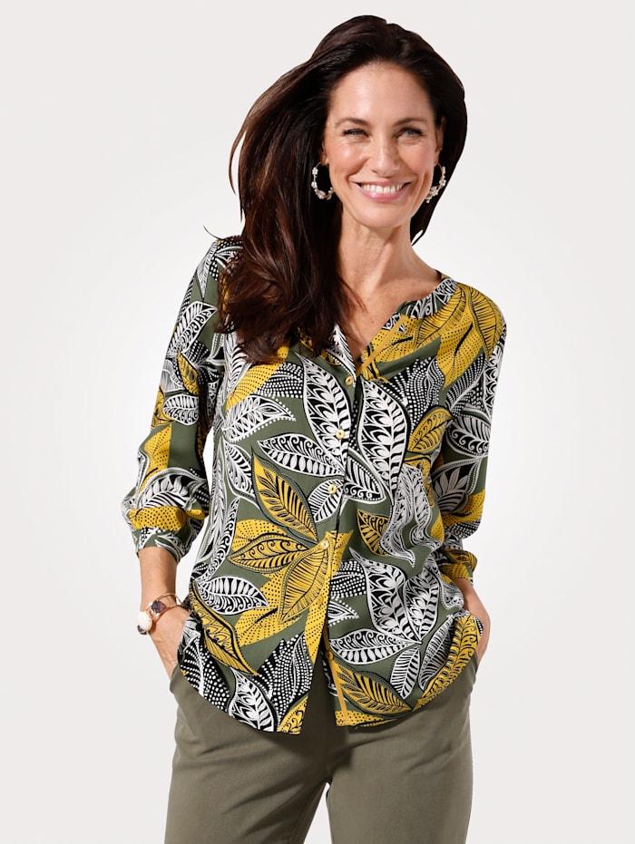MONA Bluse mit allover Blätterdruck, Oliv/Senfgelb