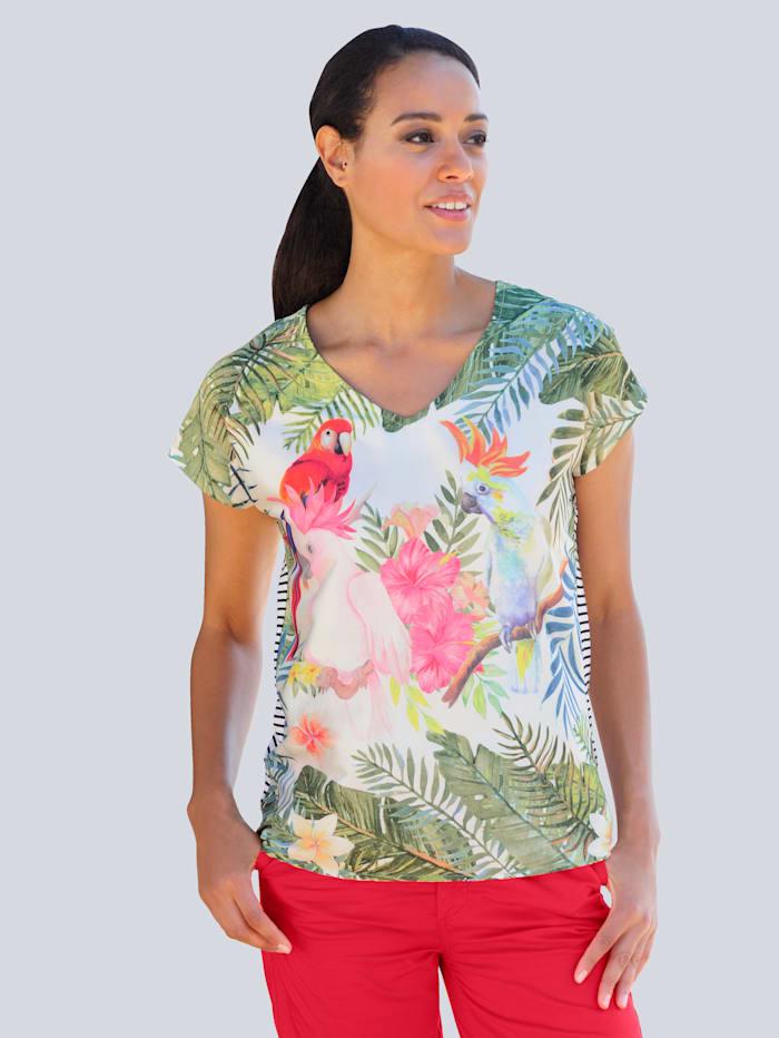 Alba Moda Strandshirt im Materialmix, Multicolor