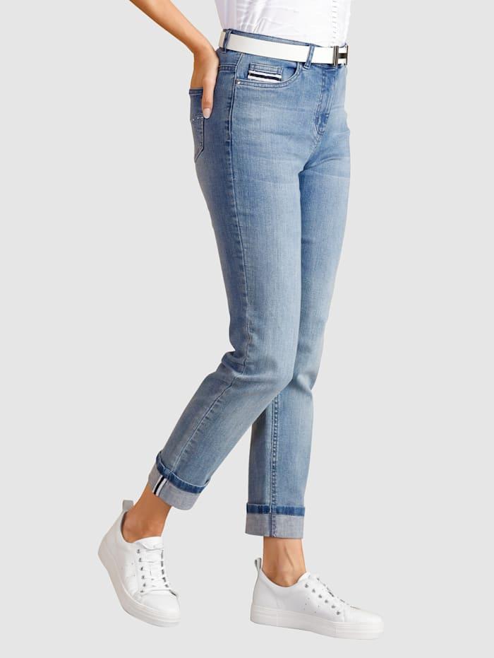 Paola 7/8 Jeans mit Hosenaufschlag und Zierband, Light blue