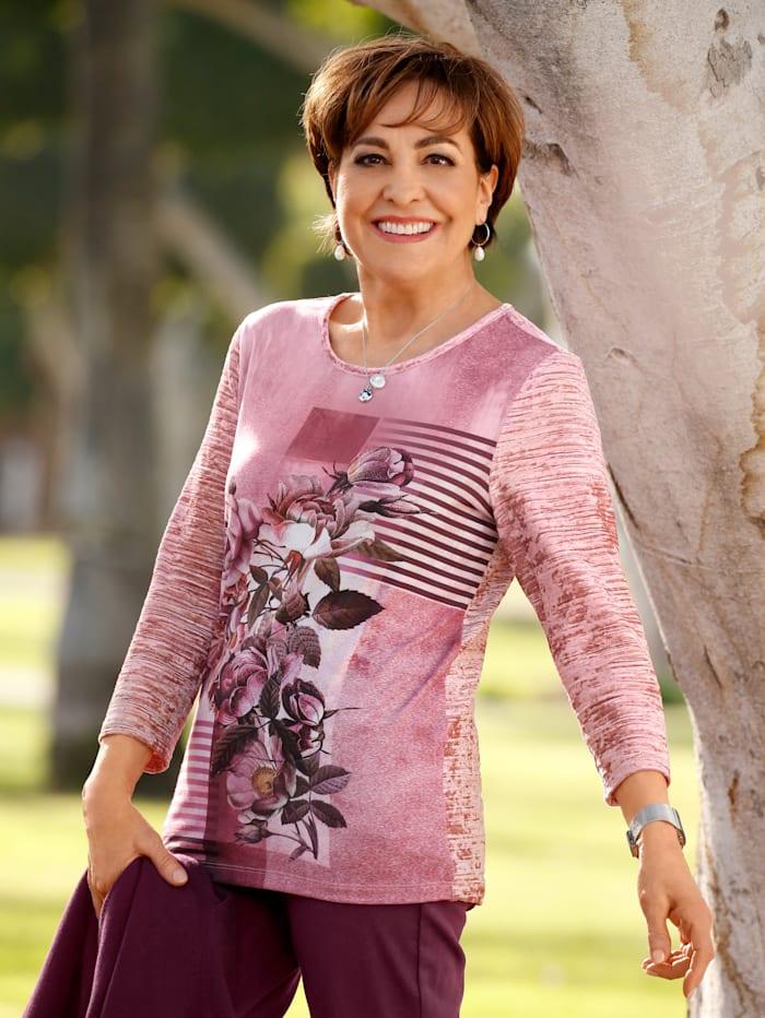 Paola Shirt van gestructureerd fluweel, Oudroze