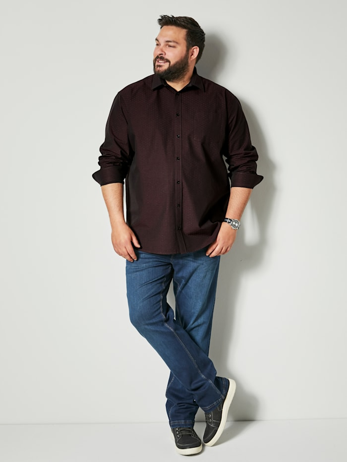 Men Plus Hemd aus reiner Baumwolle, schwarz/bordeaux