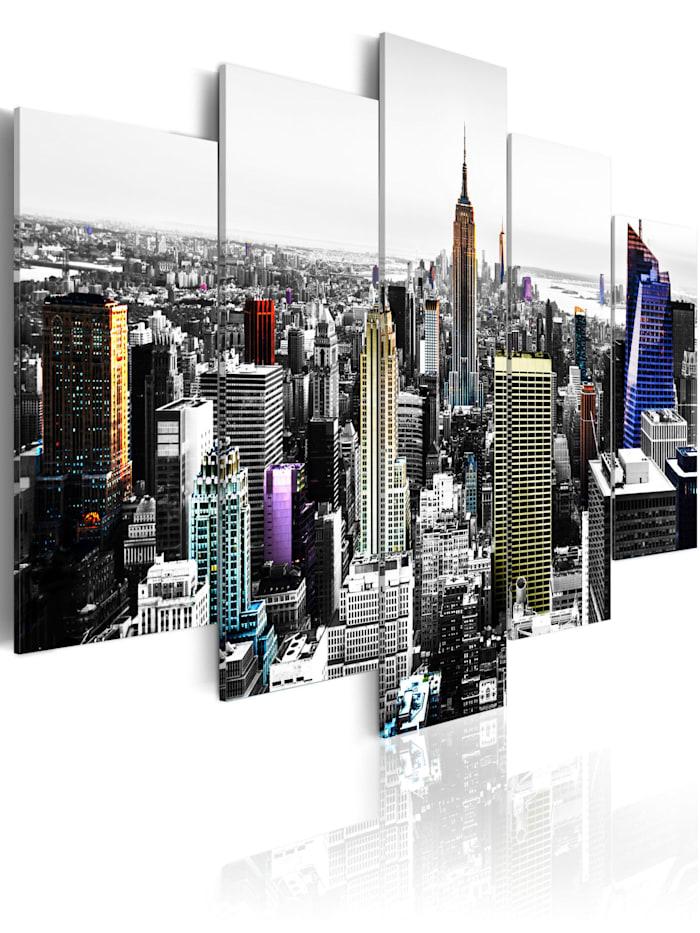 artgeist Wandbild City of colors, schwarz-weiß,Blau,Gelb