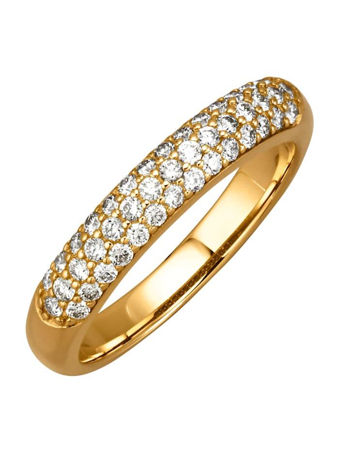 Amara Diamants Bague avec 43 brillants, Jaune