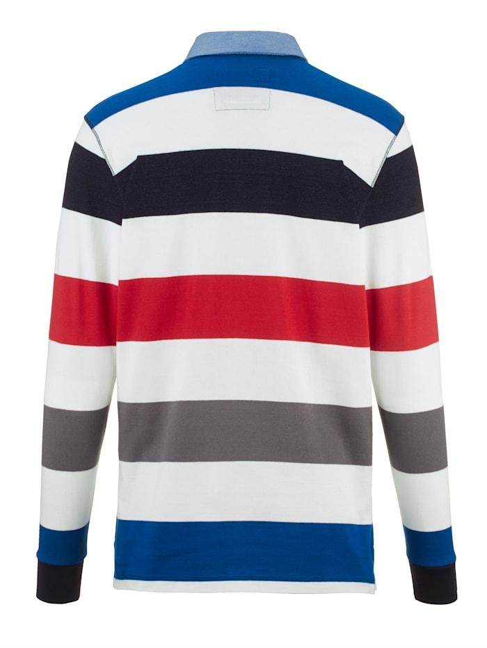 Sweatshirt met denim- contrasten