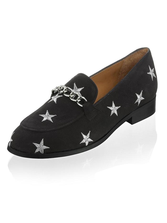 Alba Moda Slipper mit Sternen-Stickerei, Schwarz/Silberfarben